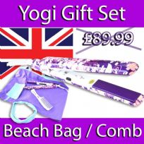 YOGI IONIC TOURMALINE HAIR STRAIGHTENER BEACH BAG COMB GIFT SET  PURPLE FLOWER
